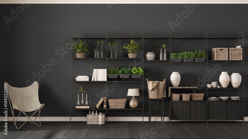 Eco Gray Interior Design With Wooden Bookshelf Diy Vertical