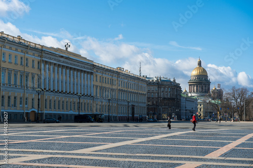 Canvas Prints April 13, 2015 - St.Petersburg Russia : Tourists walking on the Palace square infront of Hermitage museum on a sunny day