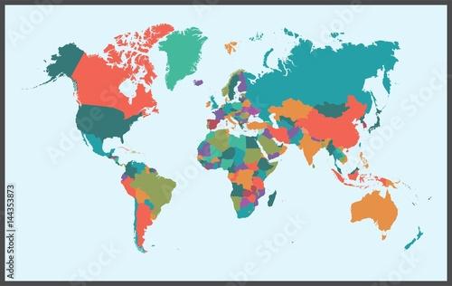 Deurstickers Wereldkaart World Map Vector