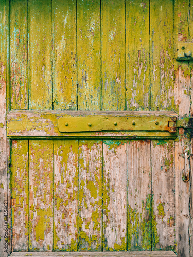 Green doors. Wood texture. Old shabby, irradiated paint. Old wooden on