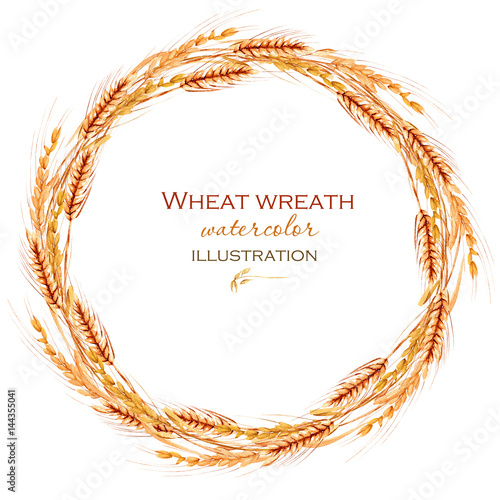 Fototapeta Wreath, circle frame border with wheat spikelets hand drawn in watercolor on a white background obraz