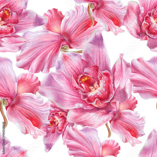 Poster de jardin Dahlia Seamless pattern with flowers. Orchid. Cyclamen. Watercolor illustration. Hand drawn.