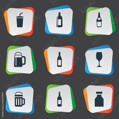 Fotografie, Obraz  Vector Illustration Set Of Simple Drinks Icons