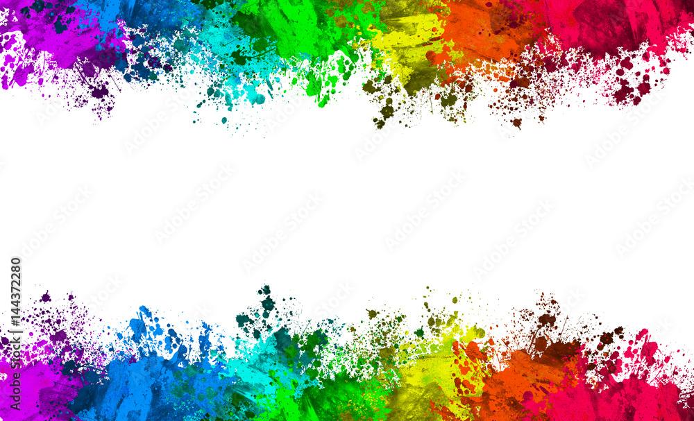 Fototapeta Multi-Color Paint Splatter Border/Background