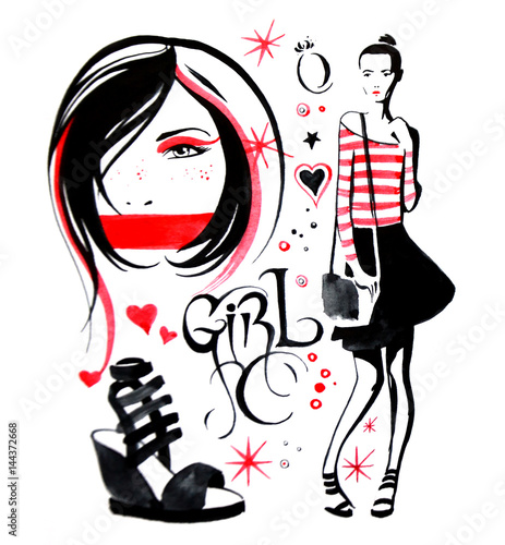 Photo Stands Illustrations Fashion illustration of a watercolor on a white background portrait of a girl, silhouette of a girl, bag, shoe, clothes.