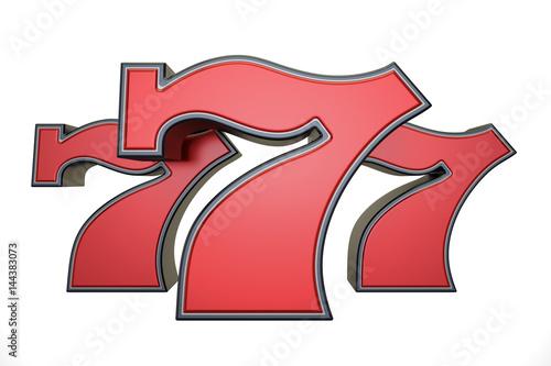 777 jackpot symbol, 3D rendering Poster