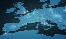 Europe Blue Map Big Data Visua...