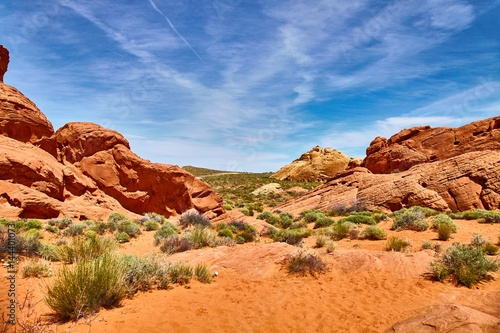 Fotobehang Oranje eclat Incredibly beautiful landscape in Southern Nevada, Valley of Fire State Park, USA.