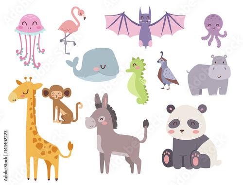Cute zoo cartoon animals isolated funny wildlife learn cute language and tropical nature safari mammal jungle tall characters vector illustration. #144402223