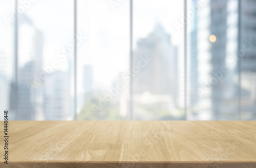 Wood Table Top And Blur Glass Window Wall Building Background   Can Used  For Display Or