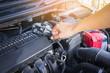 Man check the car engine, vintage effect.