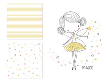 Little Fairy. Surface Design And 2 Seamless Patterns