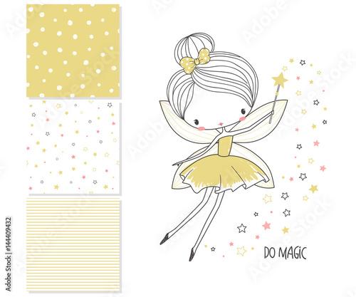 Valokuva  Little fairy. Surface design and 3 seamless patterns