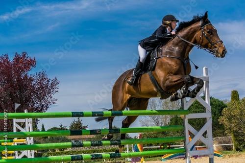 Spoed Foto op Canvas Paardrijden Equitation, saut d'obstacles, compétition.