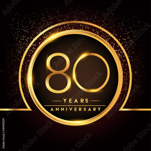 Eighty Years Birthday Celebration Logotype. 80th
