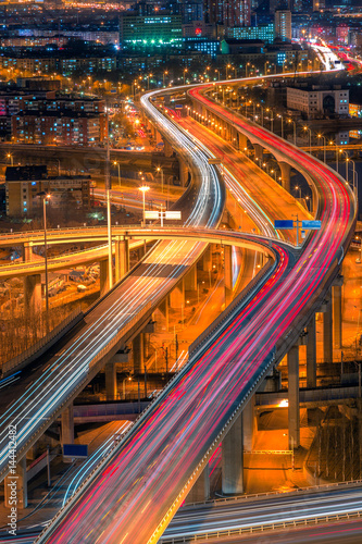 Fotobehang Nacht snelweg panoramic view of Shanghai overpass,road intersection at night in China.