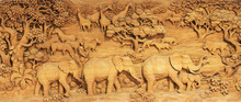 Carved Thai Animals On The Woo...