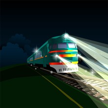 Electric Train Traveling At Night