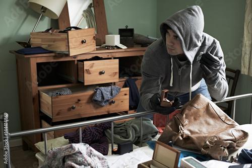 Cuadros en Lienzo  Burglar Stealing Items From Bedroom During Hose Break In