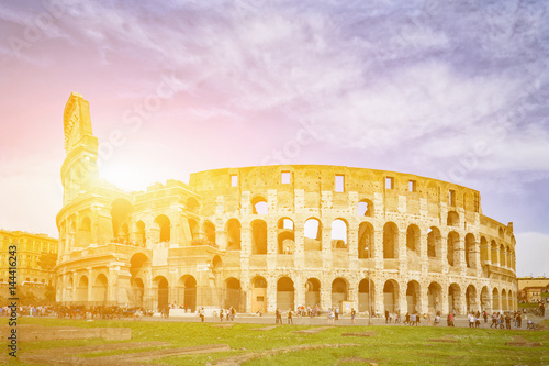 Photo  Rome, Italy,The Colosseum or Coliseum,as the Flavian Amphitheatre, is an oval amphitheatre in the centre of the city