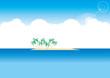 無人島と椰子の木