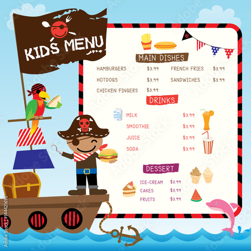 Ilration Vector Of Cute Pirate Kids With Ship On Ocean Sea Background For Menu Template