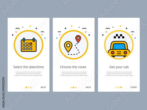 Taxi booking or order onboarding screens design  Web UI GUX