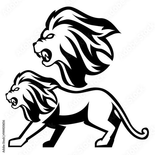 Lineart Lion Vector Art Set Head And Full Body Buy This