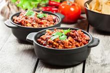 Bowls Of Hot Chili Con Carne W...