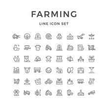 Set Line Icons Of Farming And ...