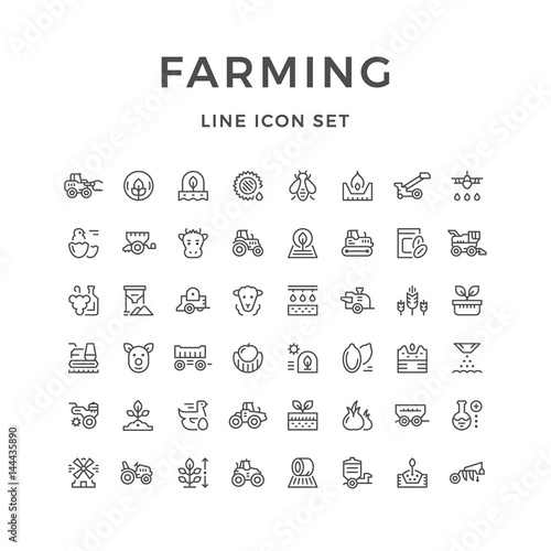 Set line icons of farming and agriculture Fototapete