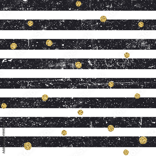 Cotton fabric Black textured lines and chaotic golden dots seamless pattern. Vintage retro pattern. Abstract vector background