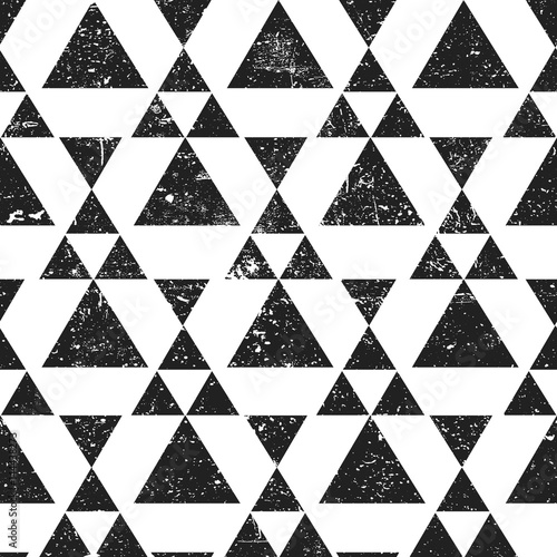 Black geometric triangle background. Abstract seamless pattern grunge textured.