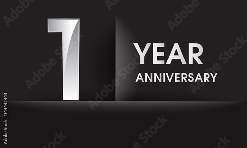 One years anniversary celebration logo flat design isolated on one years anniversary celebration logo flat design isolated on black background vector elements for stopboris Image collections