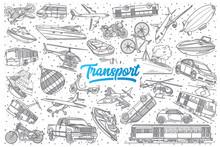 Hand Drawn Transport Doodle Se...