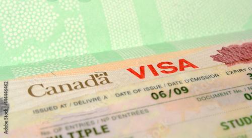 Photo  Canadian Visa Stamp close up view