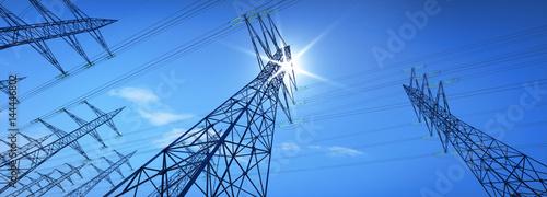 Hochspannungsleitungen im Sonnenlicht Fototapete