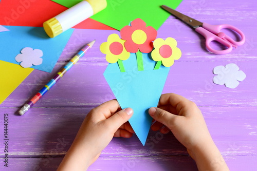 Little Child Made Paper Crafts For Mother S Day Or Birthday Child