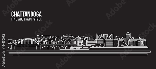 Cityscape Building Line art Vector Illustration design - Chattanooga city