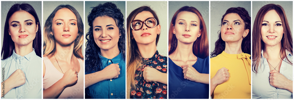 Fototapeta Group of multicultural confident women determined for a change