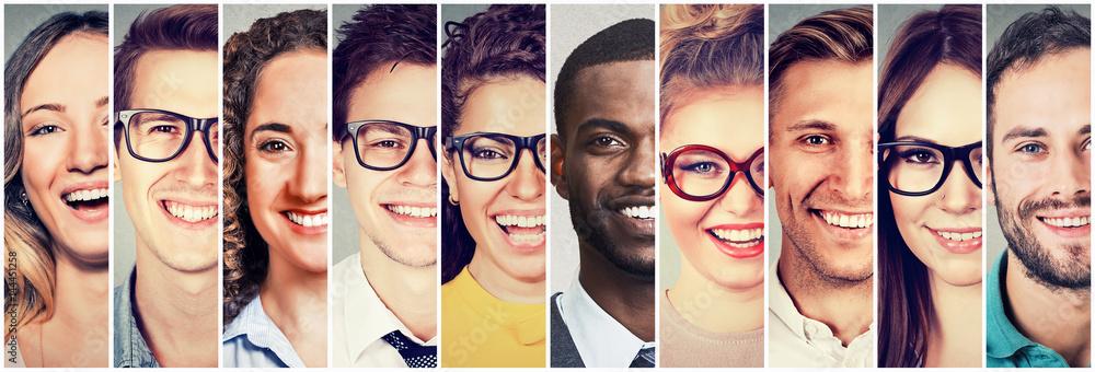 Fototapeta Group of multicultural people men and women smiling