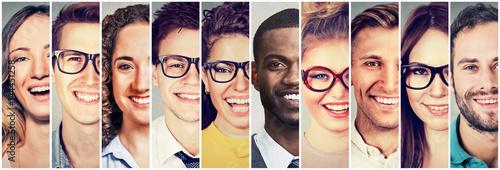Fototapeta Group of multicultural people men and women smiling obraz