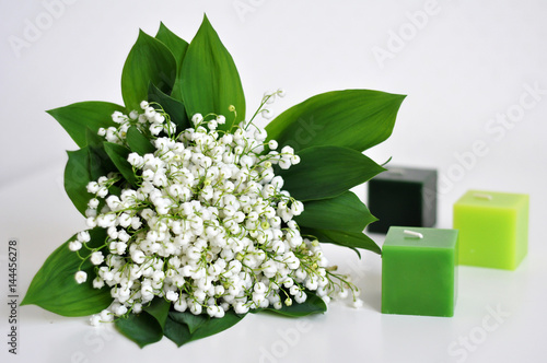 Poster Muguet de mai Lily of the valley and the candles