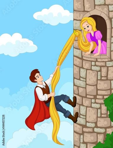 Photo  Prince climbing tower using long hair