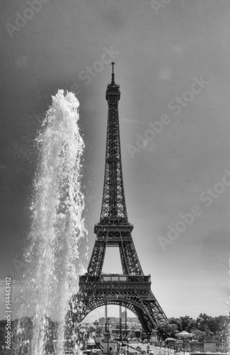 Acrylic Prints Red, black, white Particular view of Eiffell Tower