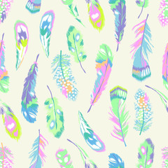 Fototapeta Sweet pastel feather print - seamless background