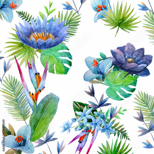 Pattern with watercolor tropical flowers, leaves and plants on white background. Hand painted jungle paradise background for textile.