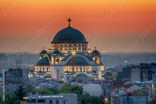 Photo Belgrade panorama with temple of Saint Sava
