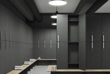 Gray Locker Room With Open Door