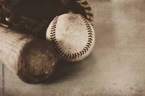 Vintage style baseball image with glove, bat and ball.  Perfect for game room print or sport background